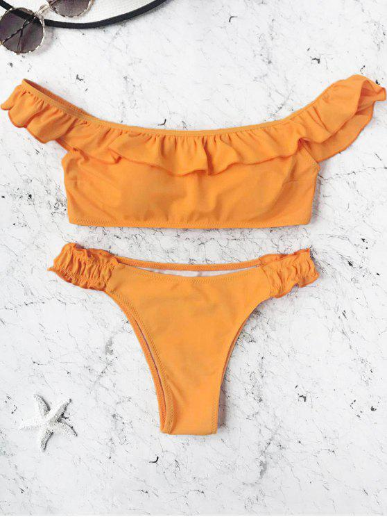 fashion Padded Frilled Off The Shoulder Bikini Set - ORANGE S