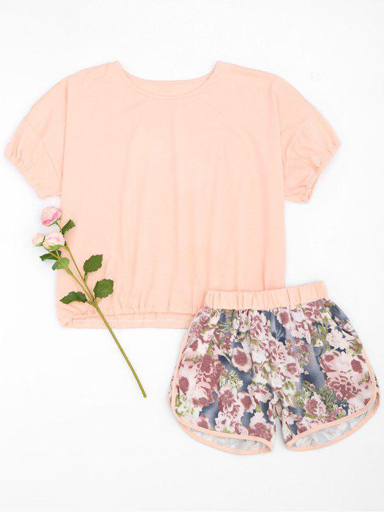Loungewear Top und Dolphin Shorts mit Blumenmuster - Rosa L