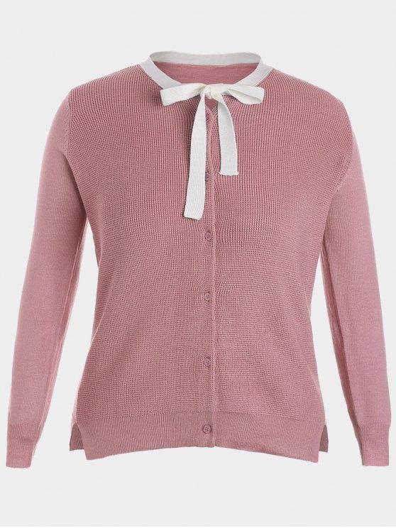 best Side Slit Bow Tie Plus Size Knitwear - PINK XL