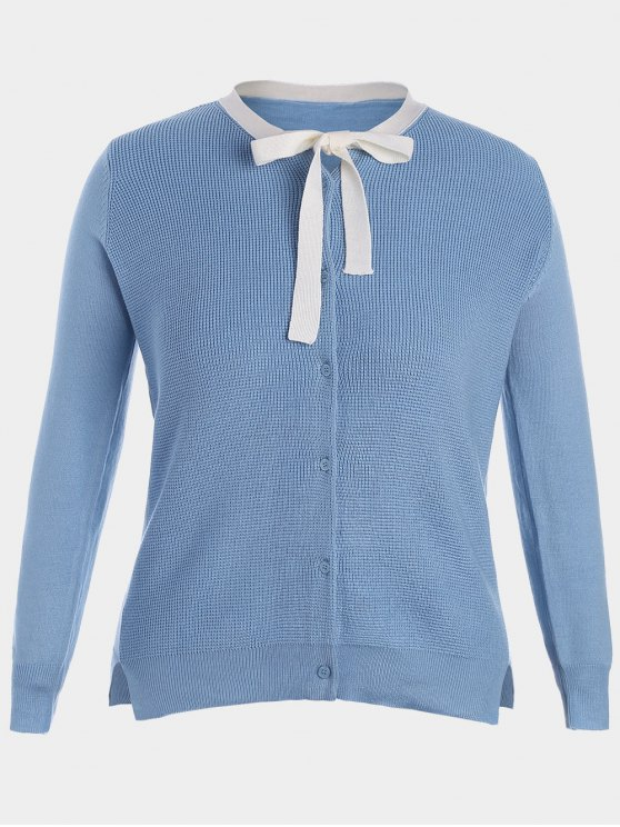 online Side Slit Bow Tie Plus Size Knitwear - AZURE 4XL