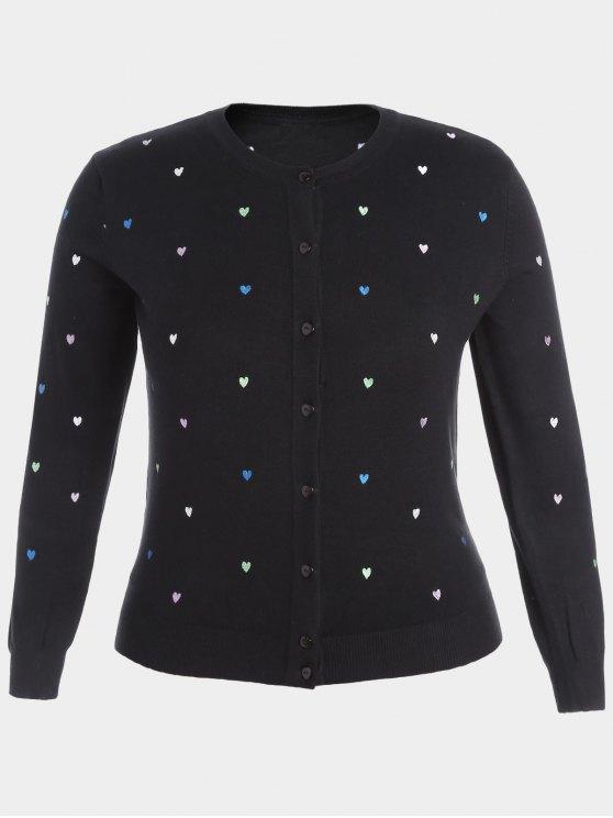 لباس المحبوك الحجم الكبير مطرز بنمط القلب - أسود 2XL