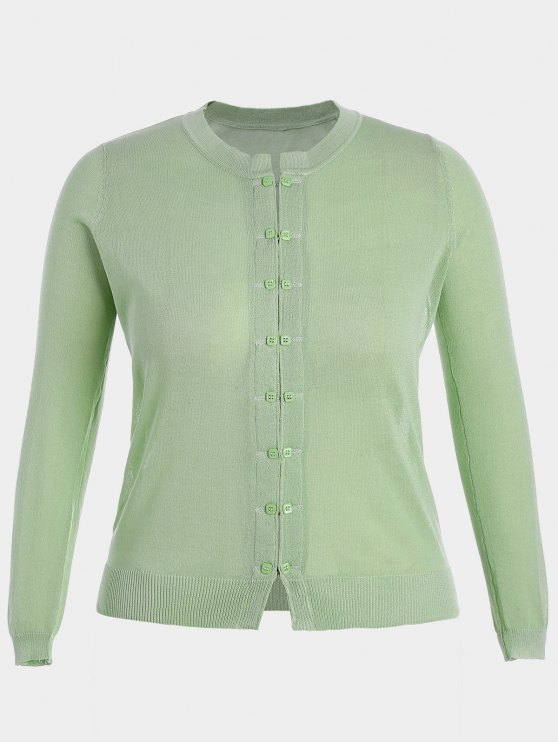 chic Buttons Plus Size Cardigan - LIGHT GREEN 3XL