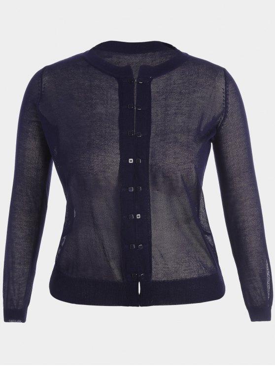 buy Buttons Plus Size Cardigan - PURPLISH BLUE XL