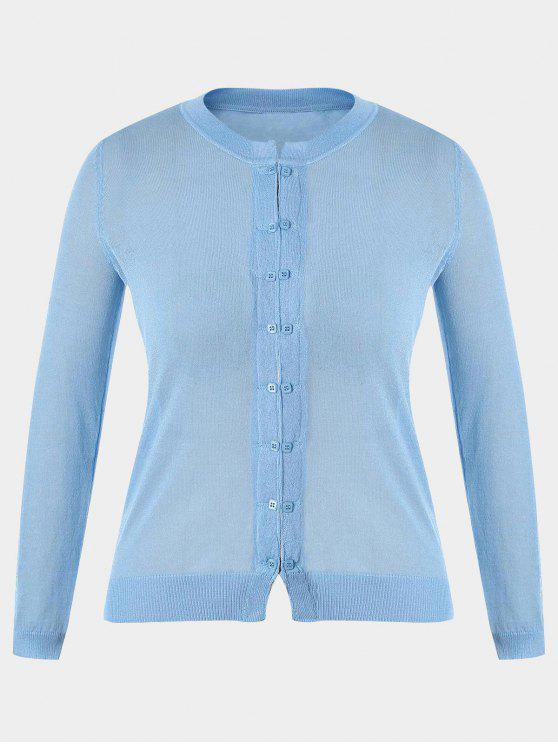 women Buttons Plus Size Cardigan - LIGHT BLUE 3XL