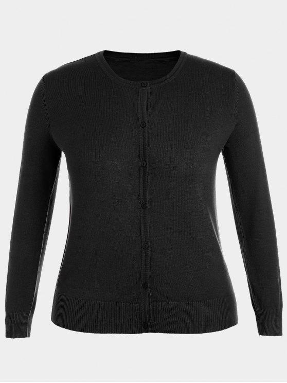 Plus Size Single Breasted Knitwear - Preto 2XL