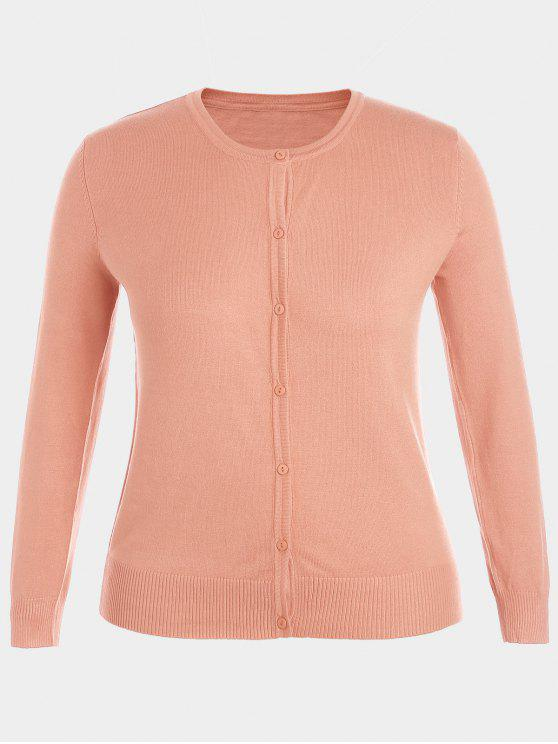 fashion Plus Size Single Breasted Knitwear - PINK 2XL