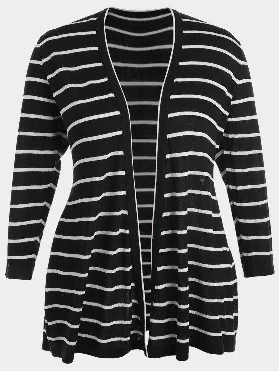chic Plus Size Striped Open Front Cardigan - BLACK 2XL