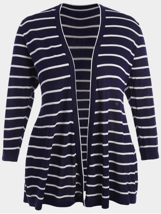 sale Plus Size Striped Open Front Cardigan - PURPLISH BLUE 3XL