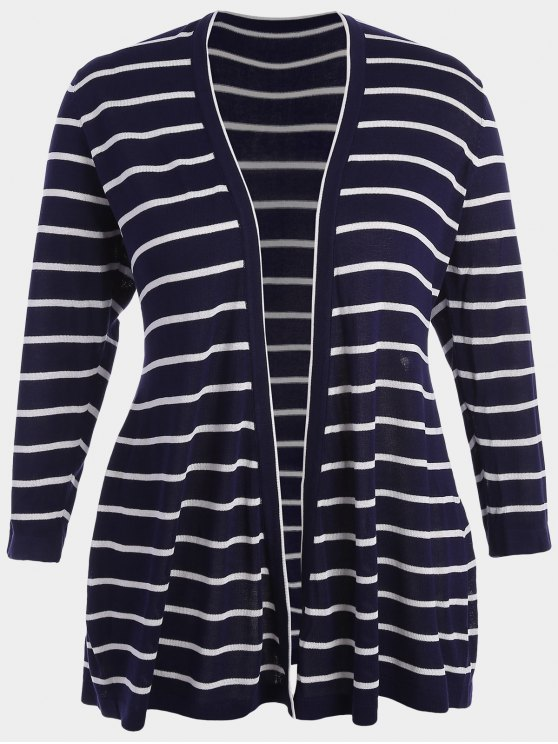 affordable Plus Size Striped Open Front Cardigan - PURPLISH BLUE 2XL