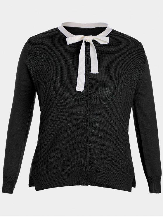 women's Side Slit Bow Tie Plus Size Knitwear - BLACK 3XL