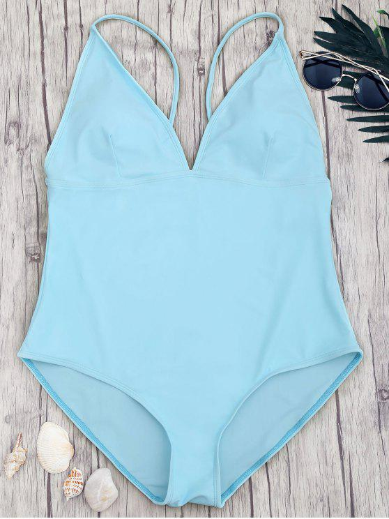 hot Shaping Plus Size V Neck One Piece Swimsuit - BLUE 3XL