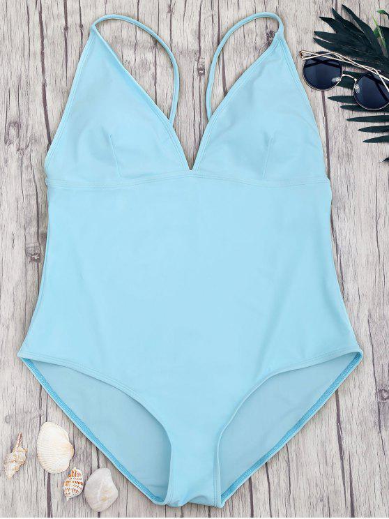 Shaping Plus Size V Neck One Piece Swimsuit - Bleu 2XL