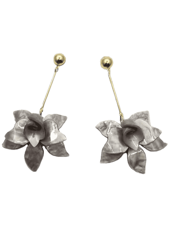 Pendientes de gota de diseño de diseño floral estéreo - Ahumado gris