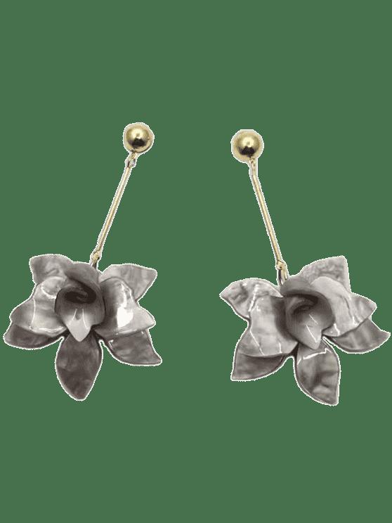 fancy Stereo Floral Design Pendant Drop Earrings - SMOKY GRAY
