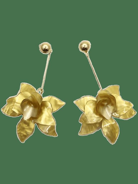 Pendientes de gota de diseño de diseño floral estéreo - Amarillo