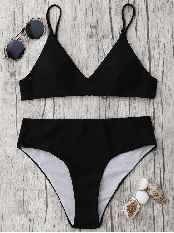 fancy Spaghetti Strap High Waist Bikini Set - BLACK S