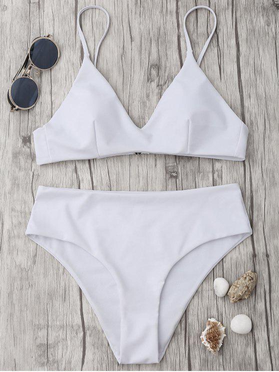 buy Spaghetti Strap High Waist Bikini Set - WHITE S