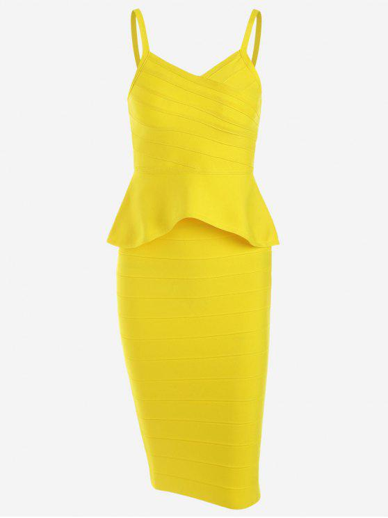 shops Flounce Cami Top and Bandage Skirt Set - YELLOW L
