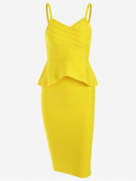 shops Flounce Cami Top and Bandage Skirt Set - YELLOW L