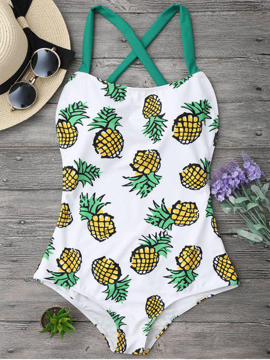 womens Pineapple Print Cross Back Swimsuit - COLORMIX S