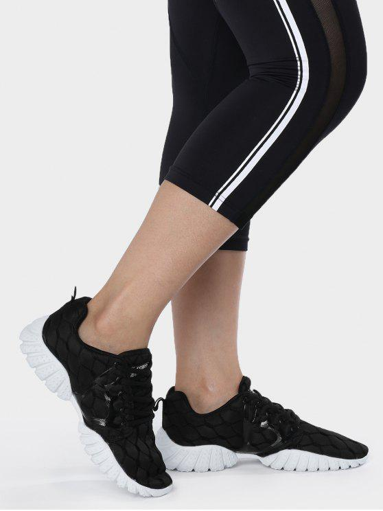 Zapatos deportivos del patrón geométrico de la malla transpirable - Negro 39