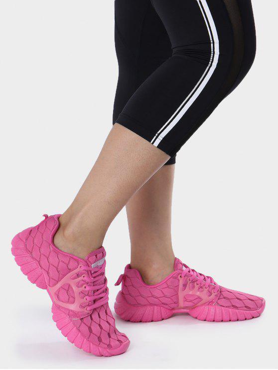 Zapatos deportivos del patrón geométrico de la malla transpirable - Rosa Roja 38