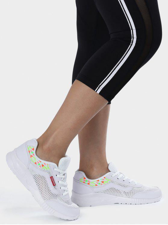 fashion Breathable Geometric Pattern Mesh Athletic Shoes - WHITE 39