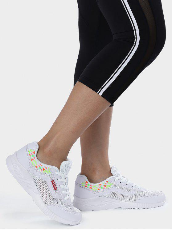 Sapatos atléticos de malha padrão padrão respirável - Branco 39