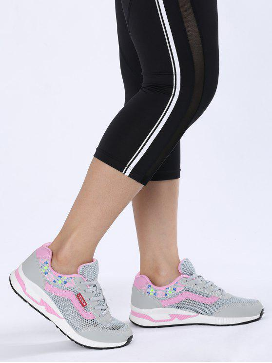 Sapatos atléticos de malha padrão padrão respirável - Cinza 38
