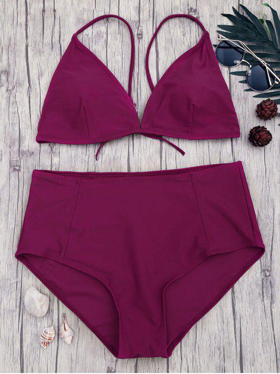 trendy High Waisted Plus Size Bikini Set - MERLOT 2XL