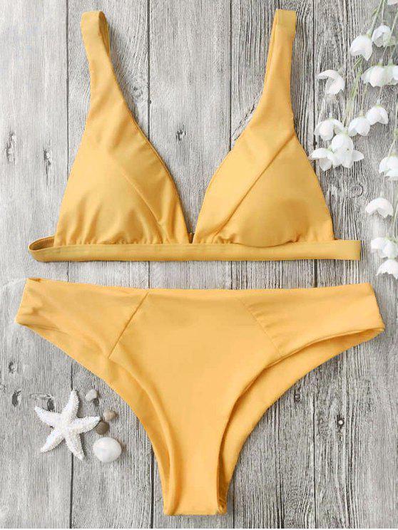 women's Padded Plunge Bikini Top and Bottoms - MUSTARD S