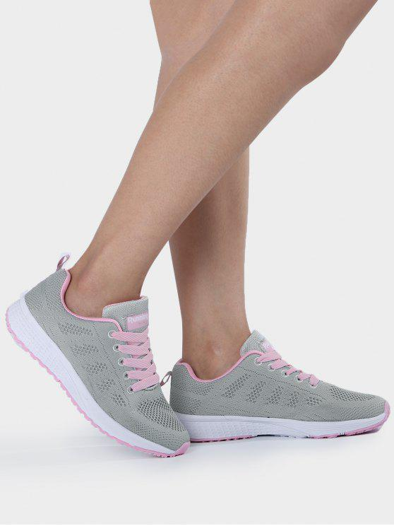 women's Eyelet Embroidery Mesh Breathable Athletic Shoes - PINK AND GREY 40