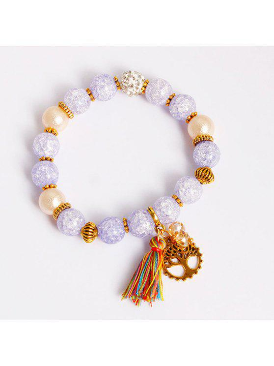 women Tree of Life Tassel Charm Beaded Bracelet - LIGHT PURPLE