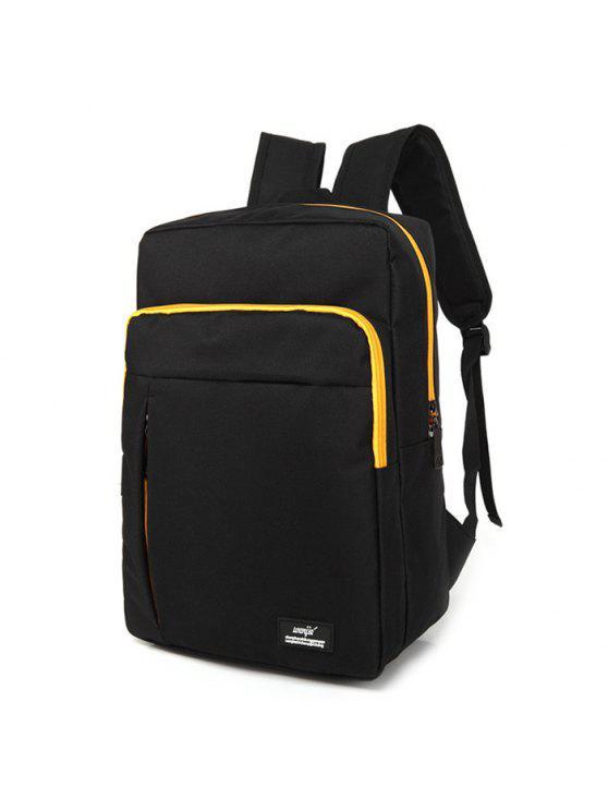 affordable Padded Strap School Backpack - BLACK
