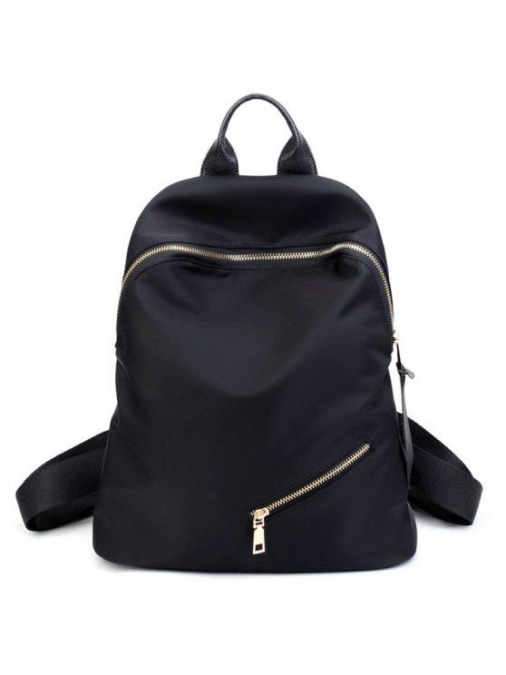 fancy Top Handle Zips Nylon Backpack - BLACK