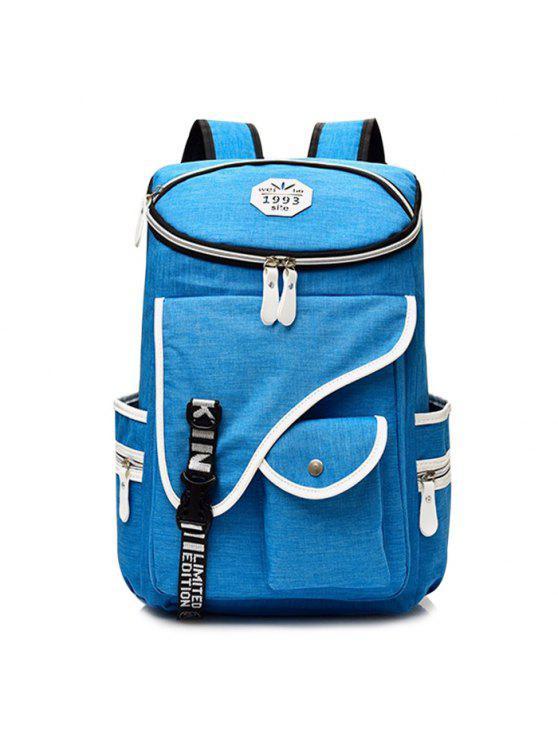 Letra Jacquard Strap Nylon Backpack - Azul