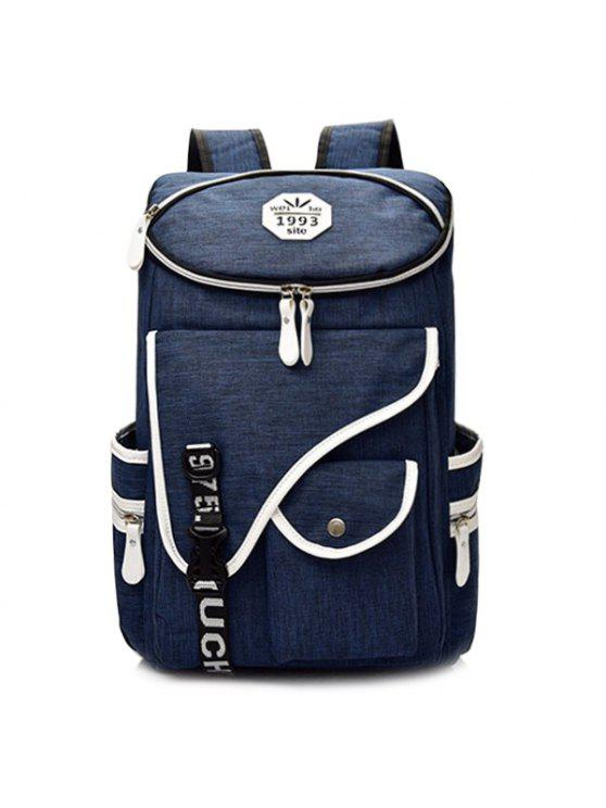 latest Letter Jacquard Strap Nylon Backpack - DEEP BLUE