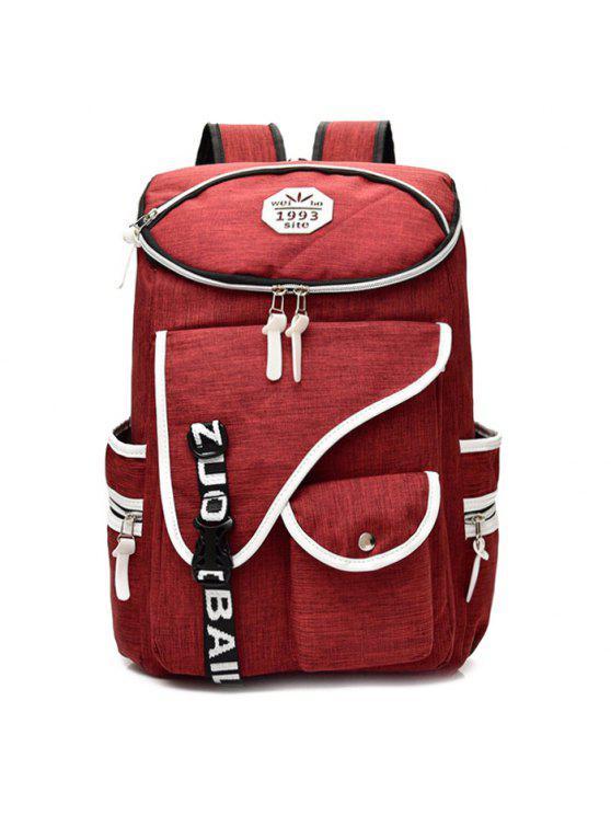 Sac à dos en nylon Jacquard Strap - Rouge