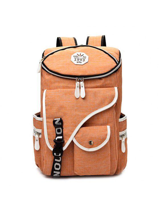 fashion Letter Jacquard Strap Nylon Backpack - ORANGE