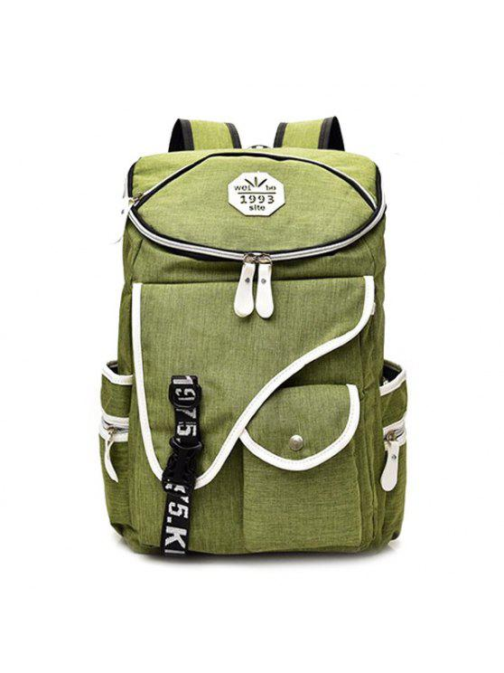 chic Letter Jacquard Strap Nylon Backpack - GREEN