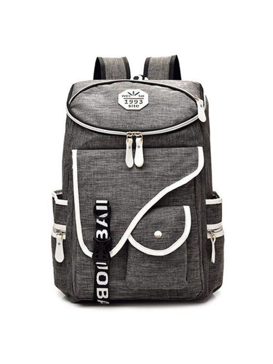 fancy Letter Jacquard Strap Nylon Backpack - GRAY