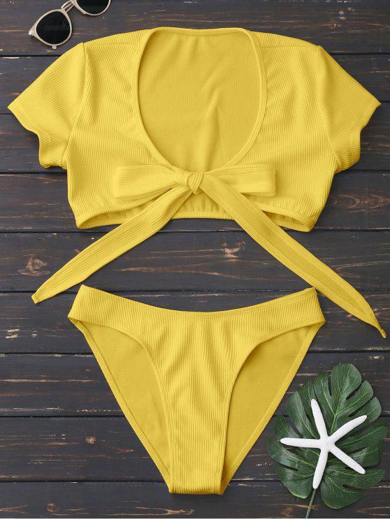 trendy Knot Front High Cut Bathing Suit - YELLOW L