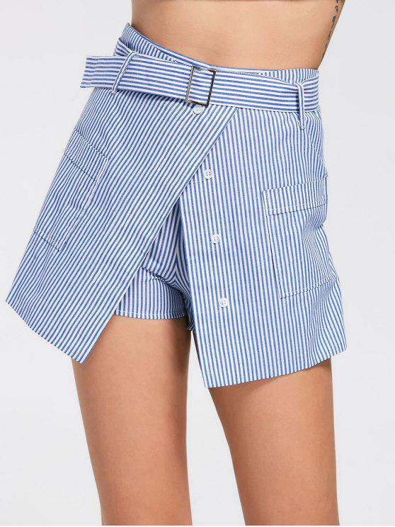 women Belted Striped Skorts with Pockets - LIGHT BLUE 2XL