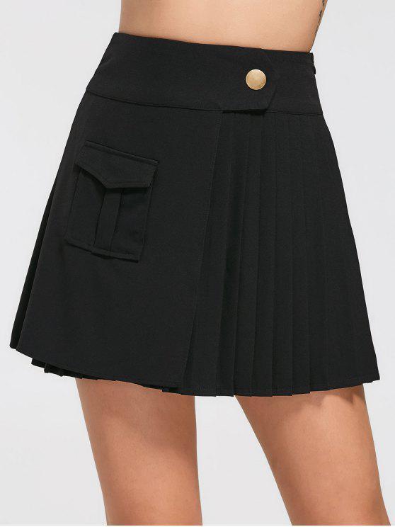 Falda plisada de bolsillo de cintura alta - Negro M