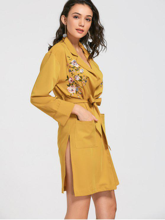 outfit Floral Embroidered Belted Trench Coat - MUSTARD L