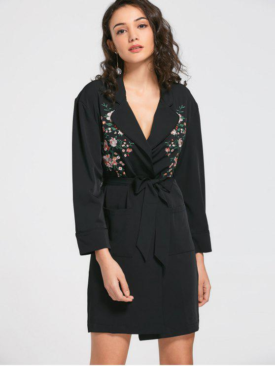 hot Floral Embroidered Belted Trench Coat - BLACK S
