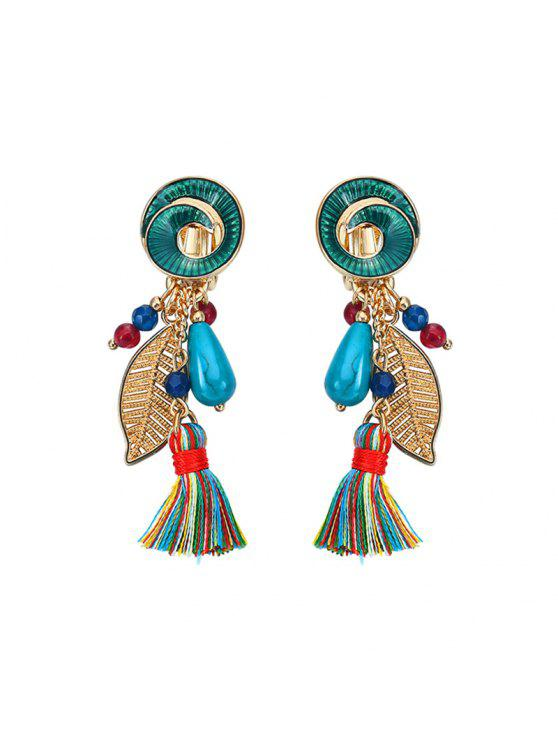affordable Vintage Leaf Tassel Drop Earrings - GREEN