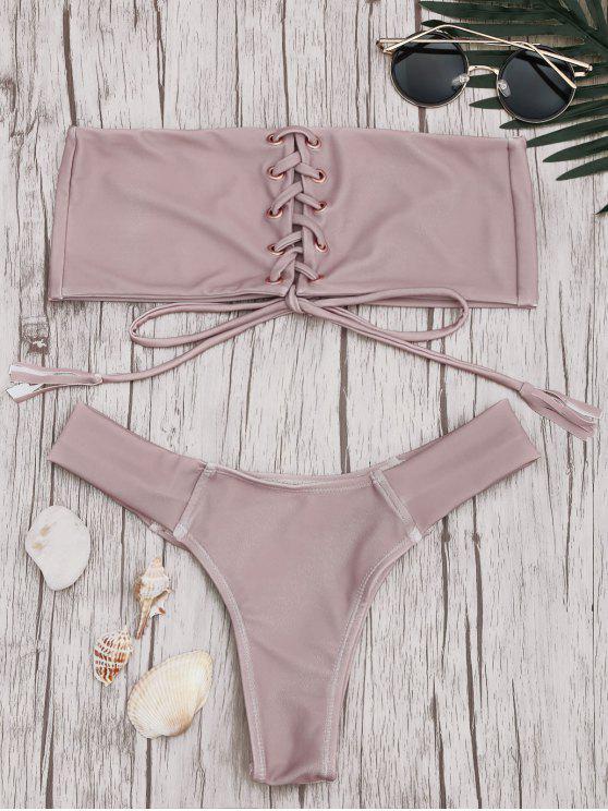 Conjunto de bikini con encaje a rayas - Rosa S