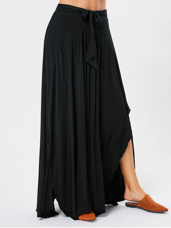 7b96ee4c48 27% OFF] 2019 Asymmetrical Maxi Skirt With Bowknot Lace Up In BLACK ...