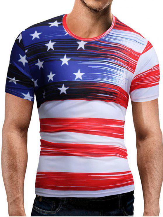 كم قصير العلم الأمريكي المحملة - أبيض XL